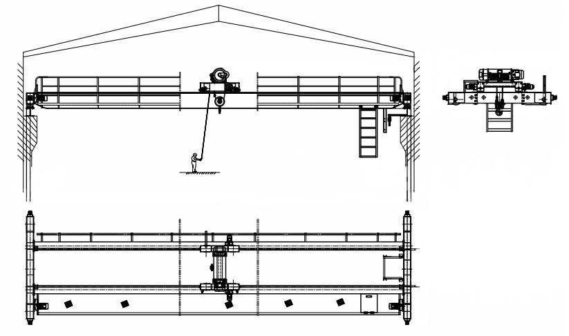 double girder overhead crane also can be called double girder bridge crane,  double overhead crane, double bridge crane, electric hoist double girder